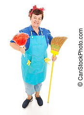 Houskeeper Ready for Action - Friendly housekeeper ready to...