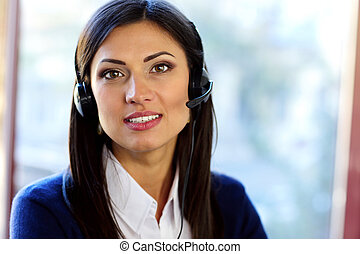 Female customer support operator with headset