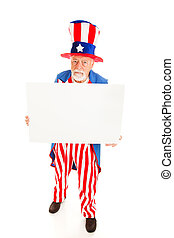 Grumpy Uncle Sam wiith Sign - Grumpy Uncle Sam holding a...