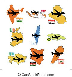 fly me to the  India, Indonesia, Iraq, Ireland, Israel, Jamaica,