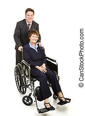 Disabled Businesswoman and Colleague - Businessman pushing a...