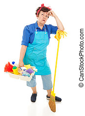 Maid Hates Her Job - Tired, unhappy cleaning lady. Full body...