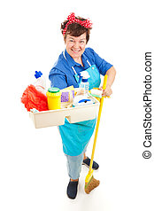Maid with Cleaning Products - Friendly smiling maid holding...