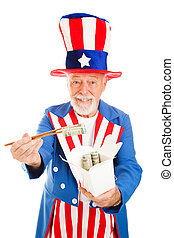 US Dollars to China - American icon Uncle Sam uses...