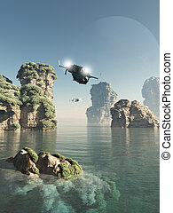 Flying Through The Sea Stacks - Science fiction illustration...