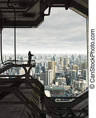 Guarding the Future City - Science fiction illustration of a...
