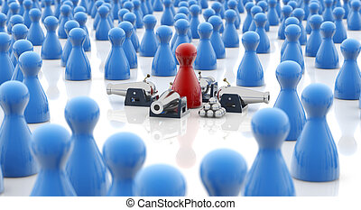self-defense concept - red pawn armed with cannons in a...