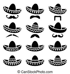 Mexican Sombrero hat with moustache - Vector black icons set...
