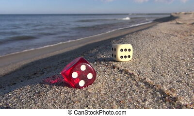 lucky game dices on sea beach - lucky game dices with number...
