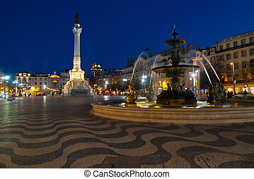 Rossio square by night - Rossio square and bronze fountain...
