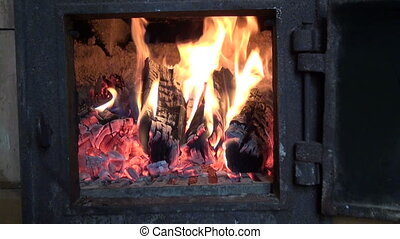 winter fire in old used furnace