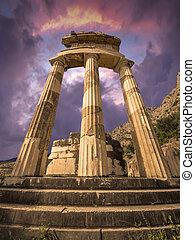 les, Tholos, à, delphes, Grèce,