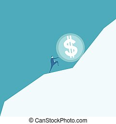 Business man pushing a huge coin up hill