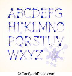 Vector ink uppercase alphabet