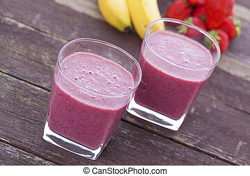 Super food smoothie - Banana, strawberry, chia seed and...