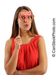 Young Woman Holding Photo Booth Prop - Close up Young Pretty...
