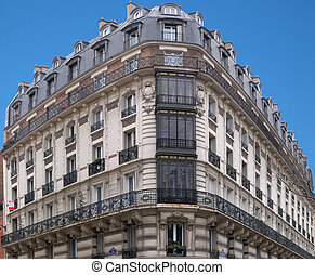 Architecture : typical Parisian building in corner of Hector...
