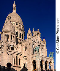 Basilique du Sacre Coeur with great blue sky in Montmartre,...