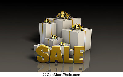 Sale Sign with Gift Boxes