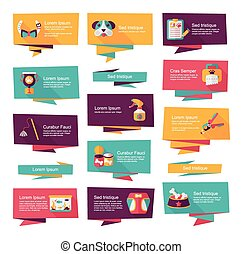 Pet flat banner design background set, eps10