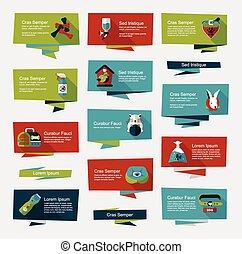 Pet flat banner design background set, eps10