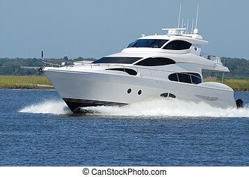 High Speed Yacht - High speed luxury yacht on the river