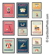 Pet poster flat banner design background set, eps10