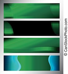 Green Glossy vector banners