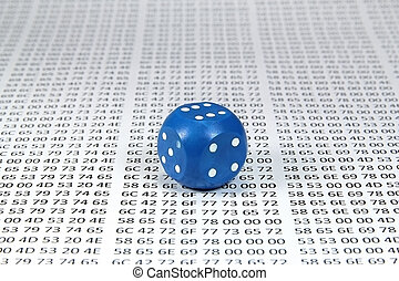Blue dice against the hex codes closeup