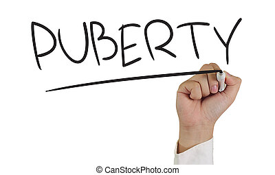 Puberty - Image of a hand holding marker and write Puberty...