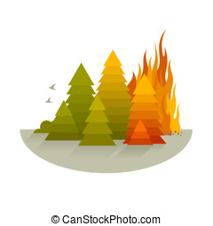 Wildfire Disaster Concept - Wildfire disaster concept with...