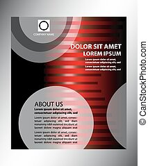 Vector dark red brochure template design with stripes