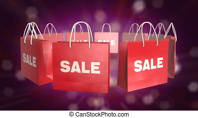 Red Shopping Bag sale on twinkle background