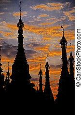 Schwedagon pagoda- Yangon, Burma (Myanmar) - Silhouette of...