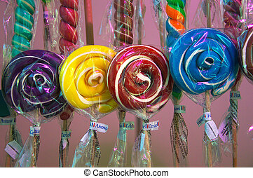 Mouthwatering lollipops - Colorful lollipops at the funfair