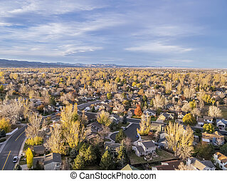 Colorado homes aerial view - aerial view of Fort Collins...