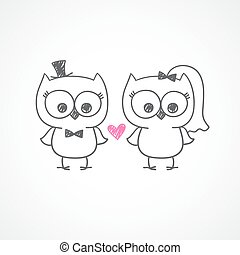 wedding owls - two cute owls, wedding invitation, vector...