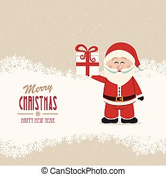santa claus hold gift winter snowy background