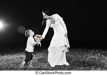 bride child flower - beautiful bride outdoor on romantic...