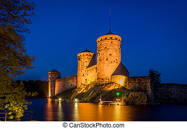 Fortress towers at night - Olavinlinna fortress at night...