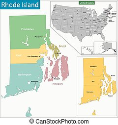 Rhode Island map - Map of Rhode Island state designed in...
