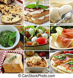 collage menu Italian food pyramid (desserts, salads, pizza...