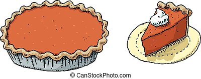 Pumpkin Pie - A cartoon of a full pumpkin pie and a slice...