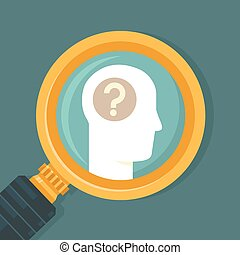 Vector psychology concept in flat style - human brain icon...