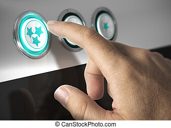 Rating button - One finger pressing a three stars button,...
