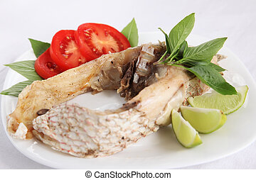 Red snapper fish - Steamed asian red snapper fish with...