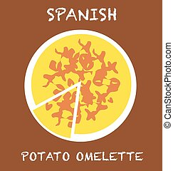 spanish potato omelette - Illustration of a typical food,...