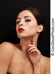 Sexy makeup woman with red lipstick looking