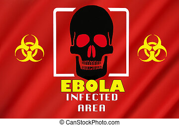 Warning Flag - Ebola Outbreak - Infected Area. Biohazard...