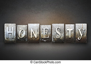 Honesty Letterpress - The word HONESTY written in vintage...